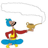 Vector cartoon man with a magic lamp. Vector cartoon Arabian man holding a magic lamp with smoke Stock Images