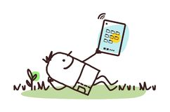 Cartoon Man Relaxing with His Tablet royalty free illustration