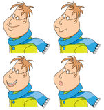 Vector cartoon man with a scarf and coat. emotions. set Royalty Free Stock Photography