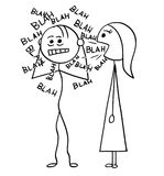 Vector Cartoon of Man Sick by Talking Woman. Cartoon stick man drawing illustration of sick man surrounded by words blah coming from mouth of talking woman vector illustration