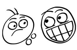 Vector Cartoon of Man Unpleasantly Surprised by Other Man with C. Cartoon vector of man unpleasantly surprised by happy man with crazy smile Stock Photography