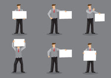 Vector Cartoon Man in Vest Suit and Neck Tie Holding Sign Stock Photography