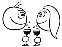 Vector Cartoon of Man and Woman Drinking Champagne Royalty Free Stock Photos