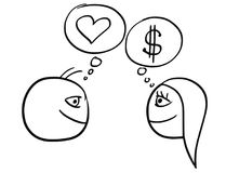 Vector Cartoon of Man and Woman Thinking Difference About Money Stock Photography