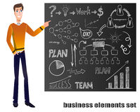 VECTOR cartoon man in yellow sweater points on blackboard with chalk drawing business elements Stock Image