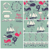 Vector cartoon marine illustration with funny whal Stock Photography