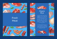 Vector cartoon meat elements card, flyer or brochure. Template for butchers shop or meat company illustration royalty free illustration
