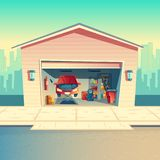 Vector cartoon mechanic workshop with car, garage. Vector cartoon mechanic workshop with car. Repairing or fixing vehicle in garage. Storeroom with furniture stock photography