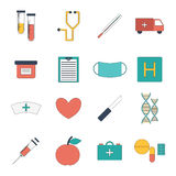 Vector cartoon medical icons. Vector illustration with cartoon flat medical objects: pills, thermometer, ambulance, stethoscope, medicine chest, dna, heart Royalty Free Stock Images