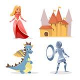 Vector cartoon medieval fairy tale characters set vector illustration