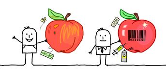 Cartoon Men with Organic & Industrial Apples Royalty Free Stock Photography