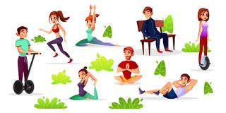 Vector cartoon people leisure activities in park. Vector cartoon men, women doing sports in park set. Young male, female characters doing yoga jogging and Stock Illustration