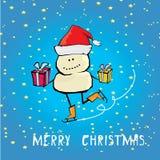 Vector cartoon merry christmas card with snowman. Stock Photography