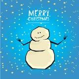 Vector cartoon merry christmas card with snowman. Stock Photo