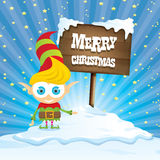 Vector cartoon merry Christmas elf on north pole. Vector cartoon cute merry Christmas elf standing on winter snow landscape near wooden sign board with greeting Stock Images