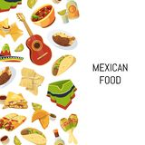 Vector cartoon mexican food background with place for text illustration stock illustration