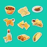 Vector cartoon mexican food stickers set illustration vector illustration