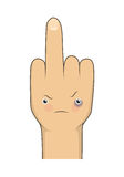 Vector cartoon middle finger with angry emotion face Stock Photos