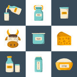 Vector cartoon milk products icons Stock Photography