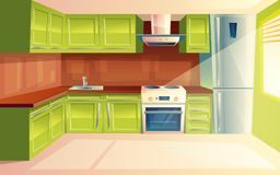 Vector cartoon modern kitchen interior background. Vector modern kitchen interior background template. Cartoon dinner room illustration with furniture - kitchen stock illustration