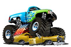 Vector Cartoon Monster Truck Royalty Free Stock Images