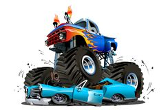 Vector Cartoon Monster Truck. Available EPS-10 separated by groups and layers with transparency effects for one-click repaint Stock Photography