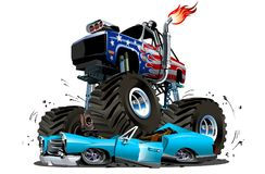 Vector Cartoon Monster Truck Royalty Free Stock Photos