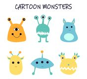 Vector cartoon monsters, space aliens. royalty free illustration