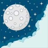 Vector Cartoon moon with space for text in the Royalty Free Stock Photos