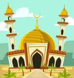 Vector cartoon mosque building with gold dome and tower. In desert and date palm tree including middle east building silhouette background illustration royalty free illustration