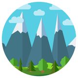 Vector cartoon mountain landscape in circle Royalty Free Stock Photography