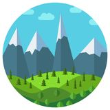 Vector cartoon mountain landscape in circle Royalty Free Stock Images