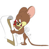 Vector cartoon mouse taking notes Stock Image