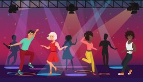 Vector Cartoon multi ethic people dancing in colorful spotlights at disco club. Night party. Stock Photos
