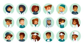 Vector cartoon multinational medical avatars set. Vector cartoon multinational medical character avatars set. Circle icon with women men doctors medical uniform Stock Photography