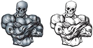 Vector Cartoon Muscular Torso with Skull Head Royalty Free Stock Photography