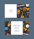 Vector cartoon musical instruments business card. Template for music shop illustration vector illustration