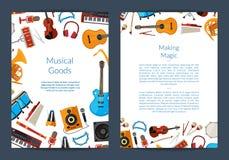 Vector cartoon musical instruments card. Or flyer template illustration royalty free illustration