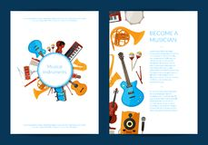 Vector cartoon musical instruments card or flyer template illustration. Collection of web banner posters stock illustration