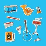Vector cartoon musical instruments stickers set illustration royalty free illustration