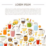 Vector cartoon non alcoholic drinks background Royalty Free Stock Image