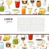 Vector cartoon non alcoholic drinks background Stock Image