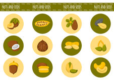 Vector cartoon nuts and seeds icons Royalty Free Stock Photos