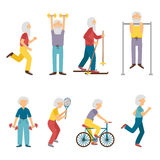 Vector cartoon old people activity. Vector set of cartoon characters. Old people activity: dumbbell, skiing, running, tennis, cycling. Happy active grandfather Royalty Free Stock Photography