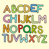 Vector Cartoon Сolorful Alphabet Letters. Vector Cartoon Funny Сolorful Letters. English Alphabet Royalty Free Stock Image