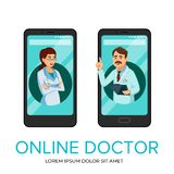 Vector cartoon online doctor app poster template. Vector cartoon online doctor, medical communication technology concept, mobile application service advertising Royalty Free Stock Image