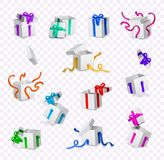 Vector cartoon present gift box ribbon bow set. Vector cartoon open present gift box white wrapping elegant colorful ribbon bow set. Birthday anniversary party Stock Photography