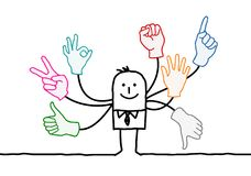 Cartoon Orator with Multi Hands Signs. Vector Cartoon Orator with Multi Hands Signs Royalty Free Stock Photo