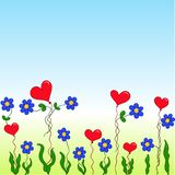 Cartoon flowers and hearts Stock Image