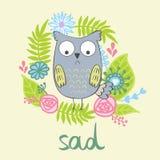 Vector cartoon owl Stock Image
